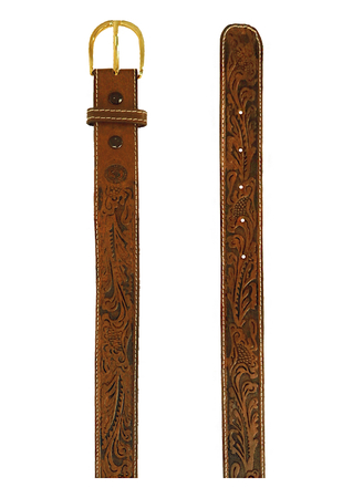 Tan Brown Western Style Leather Belt with Embossed Floral Design