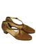 Tan Brown Leather Shoes with Crossover Strap Detail - UK Size 2.5
