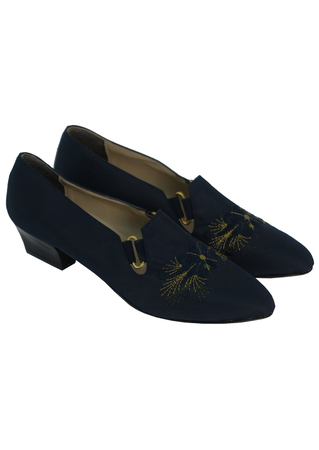 Navy Blue Shoes with Decorative Blue & Gold Floral Embroidery - UK 4