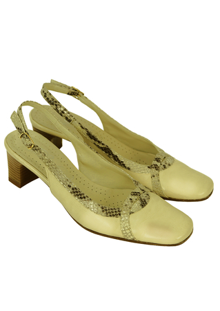 Cream Leather Slingbacks with Grey Faux Snakeskin Trim - UK Size 3