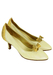 Pearlised White Court Shoes with Snakeskin Bow & Heel Detail - UK Size 3