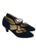 Navy Blue Mid Heel Leather Shoes with Criss Cross Detail - UK Size 2