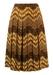 Floral Zigzag Patterned Pleat Skirt - M