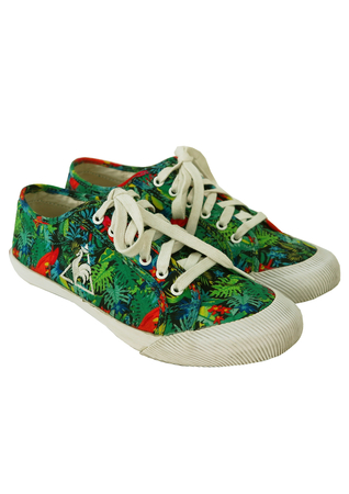Le Coq Sportif Tropical Print Plimsoll Trainers - UK Size 5