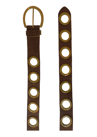 Dark Brown Leather Belt with Metal Edged Circular Openings