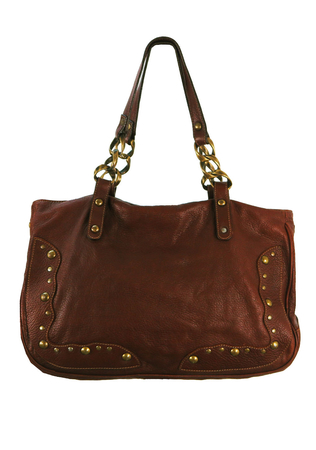 Chestnut Brown Leather Slouch Design Handbag with Copper Stud Detail