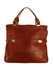 Brown Leather Handheld Handbag with Front Pocket and Gold Trim