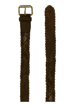 Dark Brown Plaited Leather Belt