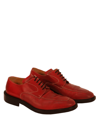 Red Leather Pointed Derby Lace Up Shoes - UK Size 8