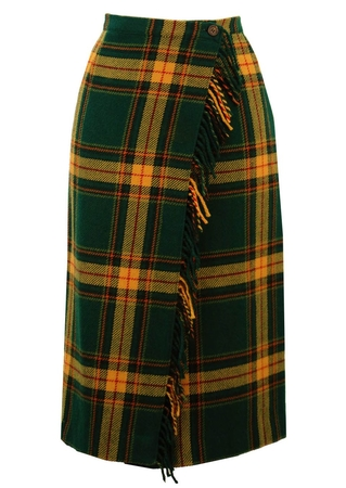Pure Wool Green & Yellow Tartan Skirt - M